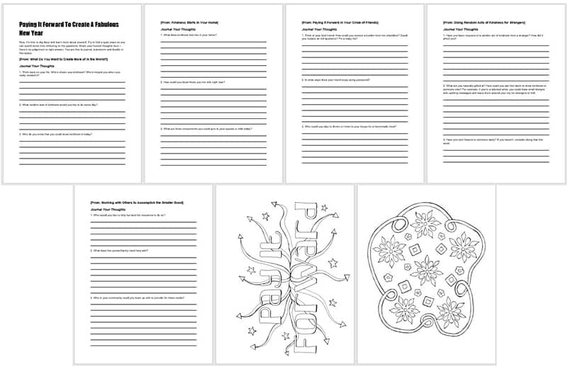 a printable implementation workbook repeats the questions and provides space for journaling their answers along with two adult coloring pages to encourage