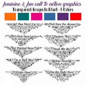 10 Hand Doodled Fun + Feminine Call To Action Graphics
