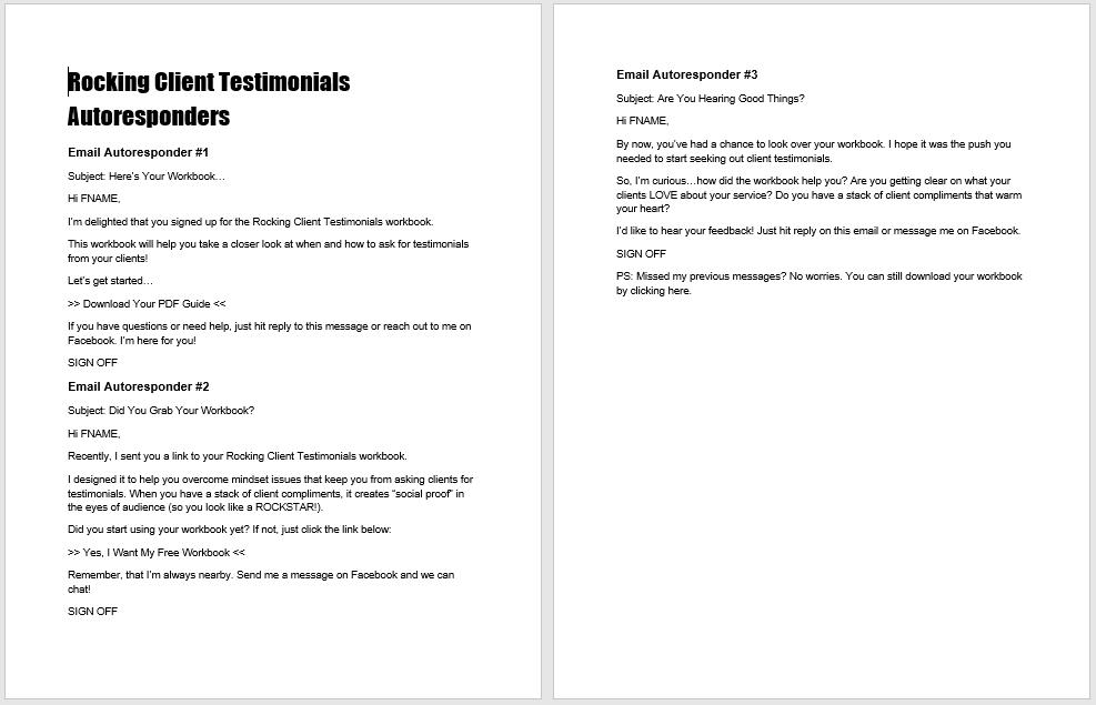Rocking Client Testimonials Autoresponders