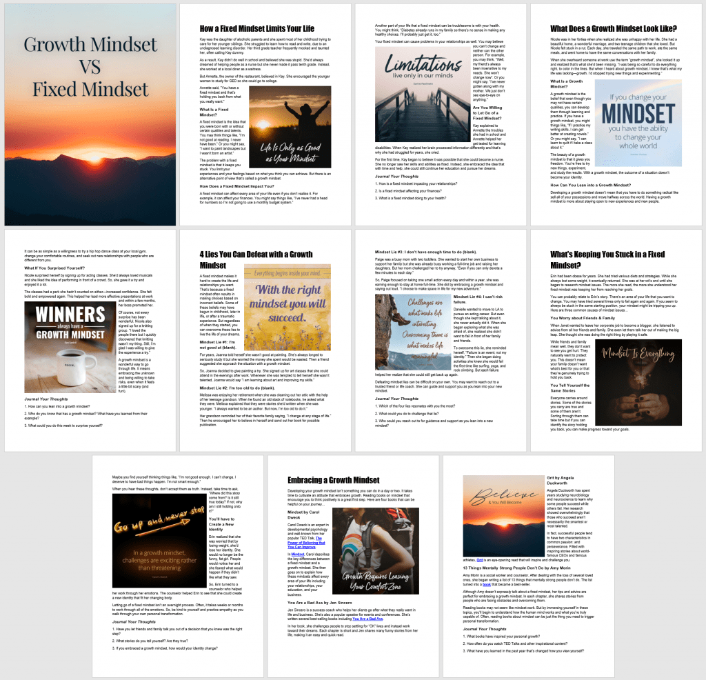 Growth Mindset VS Fixed Mindset Ebook Journal
